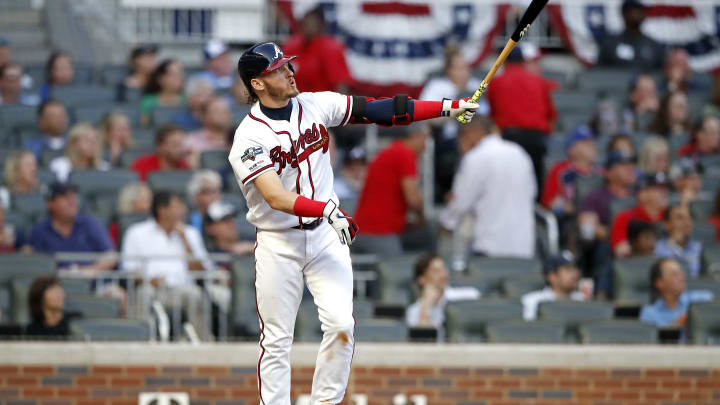ATLANTA, GEORGIA - OCTOBER 09:  Josh Donaldson #20 of the Atlanta Braves hits a solo home run against the St. Louis Cardinals during the fourth inning in game five of the National League Division Series at SunTrust Park on October 09, 2019 in Atlanta, Georgia. (Photo by Todd Kirkland/Getty Images)