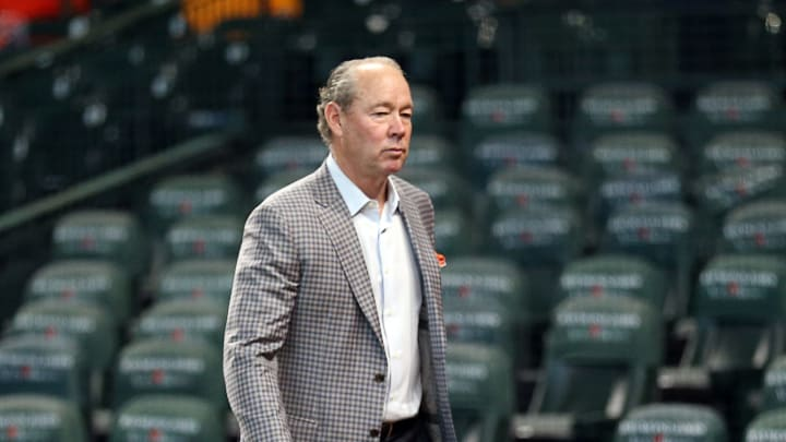 HOUSTON, TEXAS - OCTOBER 04: Jim Crane, owner of the Houston Astros before game one of the American League Division Series at Minute Maid Park on October 04, 2019 in Houston, Texas. (Photo by Bob Levey/Getty Images)