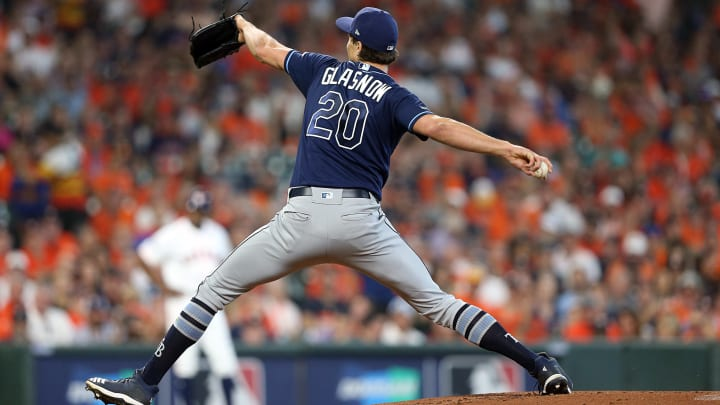 HOUSTON, TEXAS - OCTOBER 04: Tyler Glasnow #20 of the Tampa Bay Rays pitches against the Houston Astros in game one of the American League Division Series at Minute Maid Park on October 04, 2019 in Houston, Texas. (Photo by Bob Levey/Getty Images)