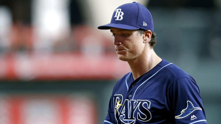 HOUSTON, TEXAS - OCTOBER 10:  Tyler Glasnow #20 of the Tampa Bay Rays reacts after being taken out of the game against the Houston Astros during the third inning in game five of the American League Division Series at Minute Maid Park on October 10, 2019 in Houston, Texas. (Photo by Tim Warner/Getty Images)