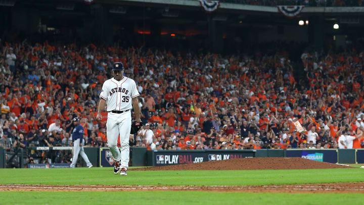 HOUSTON, TEXAS - OCTOBER 04:  Justin Verlander #35 of the Houston Astros walks off the field after a strikeout to end the seventh inning against the Tampa Bay Rays in game one of the American League Division Series at Minute Maid Park on October 04, 2019 in Houston, Texas. (Photo by Bob Levey/Getty Images)