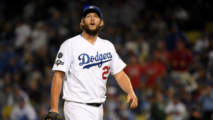 LOS ANGELES, CALIFORNIA - OCTOBER 09:  Clayton Kershaw #22 of the Los Angeles Dodgers reacts as he leaves the game after giving up back to back home runs in the eighth inning of game five of the National League Division Series against the Washington Nationals at Dodger Stadium on October 09, 2019 in Los Angeles, California. (Photo by Harry How/Getty Images)