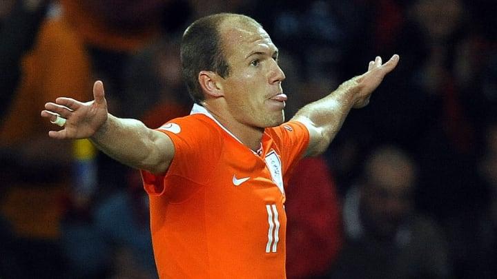 Dutch forward Arjen Robben celebrates af