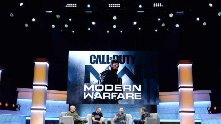 LOS ANGELES, CALIFORNIA - JUNE 11: (L-R) Jacob Mikoff, Joel Emslie, Taylor Kurosaki and Geoff Keighley speak onstage at the Call of Duty panel during E3 2019 at the Novo Theatre on June 11, 2019 in Los Angeles, California. (Photo by Vivien Killilea/Getty Images for E3/Entertainment Software Association) (Photo by Vivien Killilea/Getty Images for E3/Entertainment Software Association)