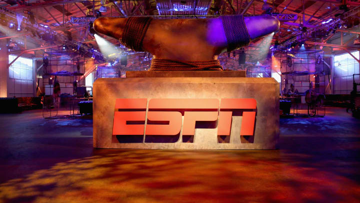 SAN FRANCISCO, CA - FEBRUARY 05:  A view of the logo during ESPN The Party on February 5, 2016 in San Francisco, California.  (Photo by Robin Marchant/Getty Images for ESPN)