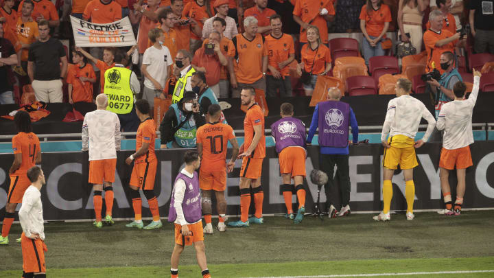 Netherlands players celebrate with the fans