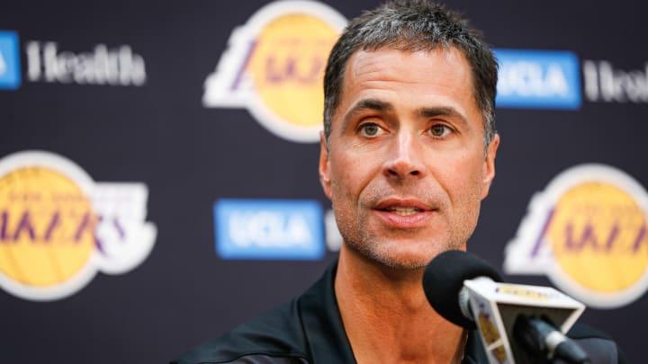 EL SEGUNDO, CA - SEPTEMBER 20: Rob Pelinka discusses the upcoming Los Angeles Lakers' season at UCLA Health Training Center on September 20, 2018 in El Segundo, California. (Photo by Meg Oliphant/Getty Images)