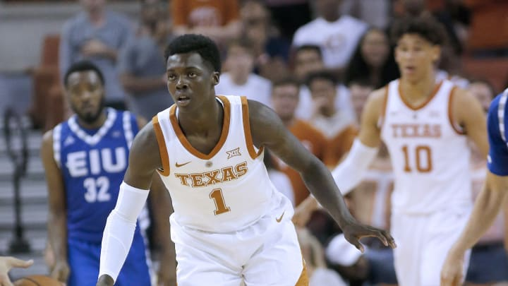 AUSTIN, TX - NOVEMBER 6: Andrew Jones #1 of the Texas Longhorns plays defense against the Eastern Illinois Panthers at the Frank Erwin Center on November 6, 2018 in Austin, Texas. (Photo by Chris Covatta/Getty Images)