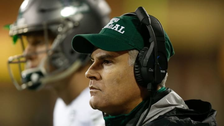 OXFORD, OH - NOVEMBER 15:  Head coach Chris Creighton of the Eastern Michigan Eagles looks on against the Miami Ohio Redhawks at Yager Stadium on November 15, 2017 in Oxford, Ohio.  (Photo by Michael Reaves/Getty Images)