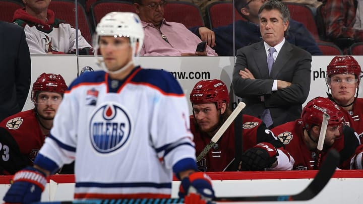 GLENDALE, AZ - DECEMBER 21:  Head coach Dave Tippett of the Arizona Coyotes watches from the bench during the third period of the NHL game against the Edmonton Oilers at Gila River Arena on December 21, 2016 in Glendale, Arizona. The Oilers defeated the Coyotes 3-2.  (Photo by Christian Petersen/Getty Images)