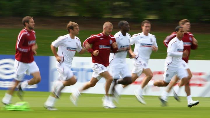 Theo Walcott, David Bentley, Emile Heskey, David Beckham, Matthew Upson, Steven Gerrard, Wayne Bridge