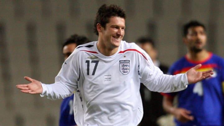 England's David Nugent celebrates scorin...