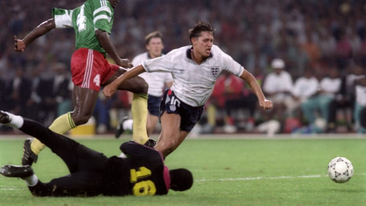 English forward Gary Lineker is tripped