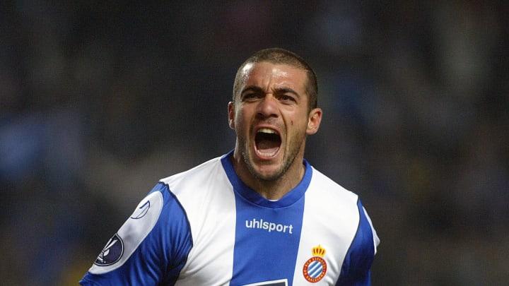 Espanyol's Walter Pandiani celebrates af...