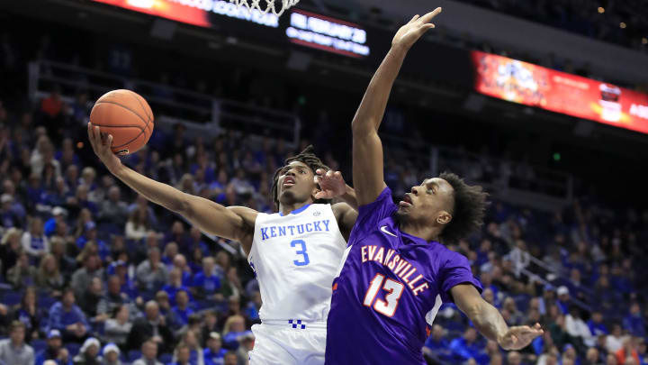 LEXINGTON, KENTUCKY - NOVEMBER 12:   Tyrese Maxey #3 of the Kentucky Wildcats shoots the ball against the Evansville Aces at Rupp Arena on November 12, 2019 in Lexington, Kentucky. (Photo by Andy Lyons/Getty Images)