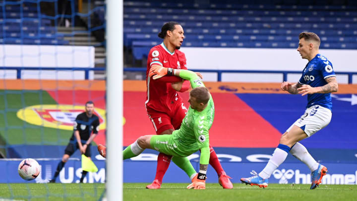 Jordan Pickford's wild challenge on Virgil van Dijk in the opening minutes of the Merseyside derby