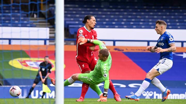 Pickford clatters Van Dijk in the penalty area