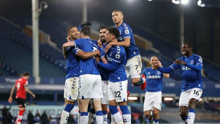 Everton celebrate their opener