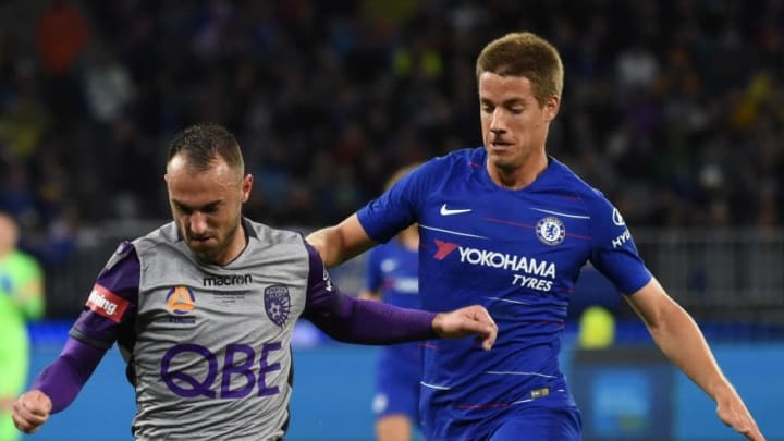 Pasalic in Chelsea Blue during his only match for a the club, a pre-season tie against Perth Glory
