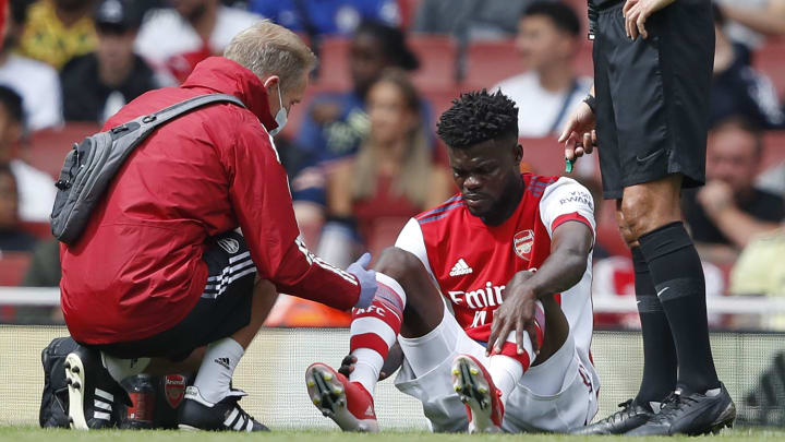 Partey was injured in a challenge against Chelsea