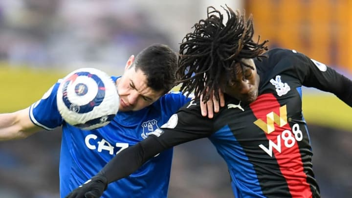 Eberechi Eze gets stuck in with Michael Keane