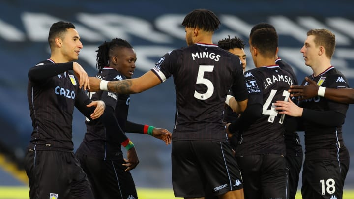 Villa players congratulate El Ghazi on his opening goal