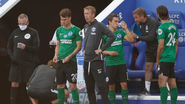 Brighton boss Graham Potter introducing a triple substitution in the second period