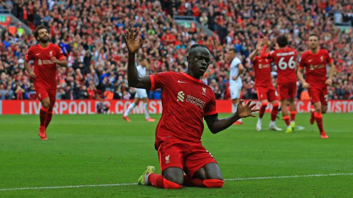 Sadio Mane celebrates scoring Liverpool's second goal