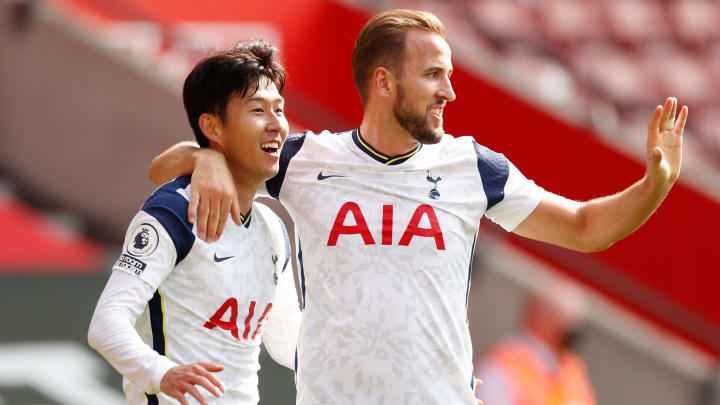 Son Heung-min and Harry Kane celebrate after scoring in Southampton v Tottenham - Premier League