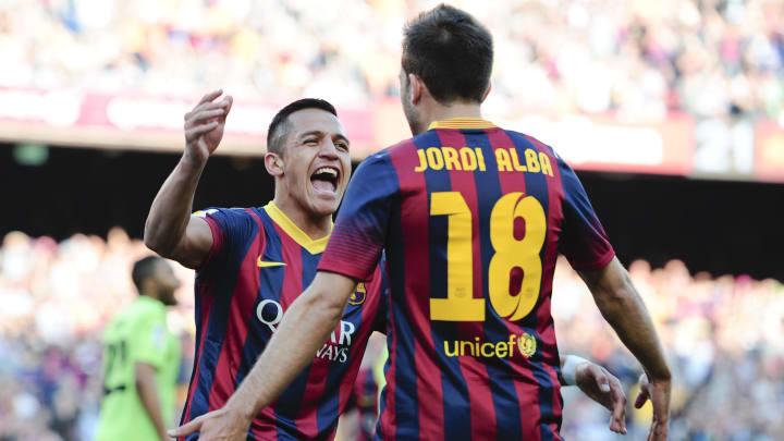 Alba celebrates with Alexis Sanchez