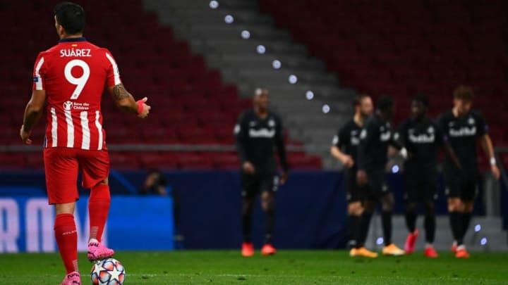 Luis Suarez avec l'Atlético de Madrid face au Red Bull Salzbourg.