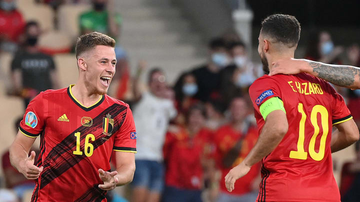 Thorgan Hazard celebrates his fine goal against Portugal with his brother Eden