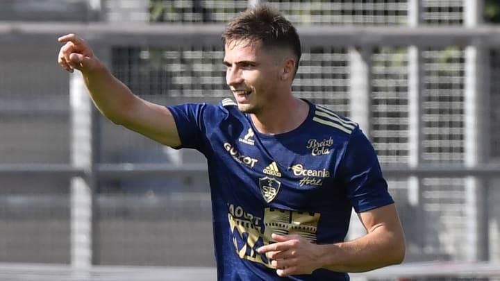 Romain Perraud celebrates scoring against Dijon