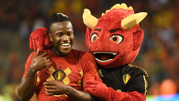 Michy Batshuayi with Red, the Belgium football team's mascot