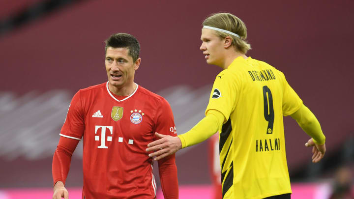 Duell der Torjäger: Robert Lewandowski (l.) gegen Erling Haaland