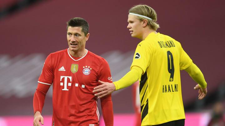 Robert Lewandowski neben seinem potenziellen Nachfolger Erling Haaland