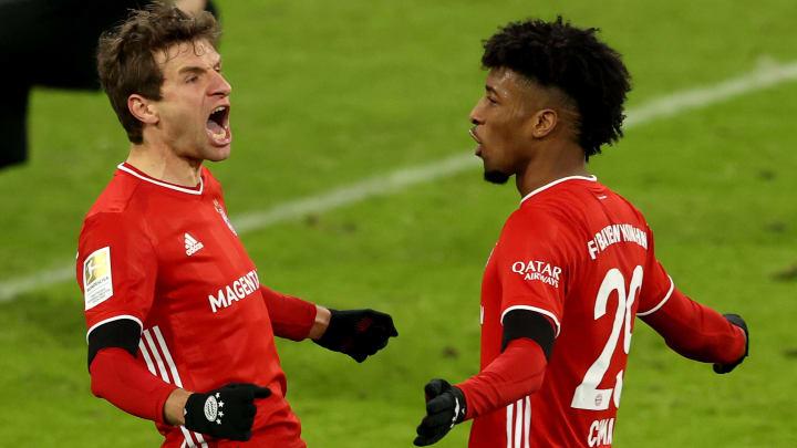 Retteten dem FC Bayern einen Punkt gegen RB Leipzig: Thomas Müller und Kingsley Coman (v.l.)