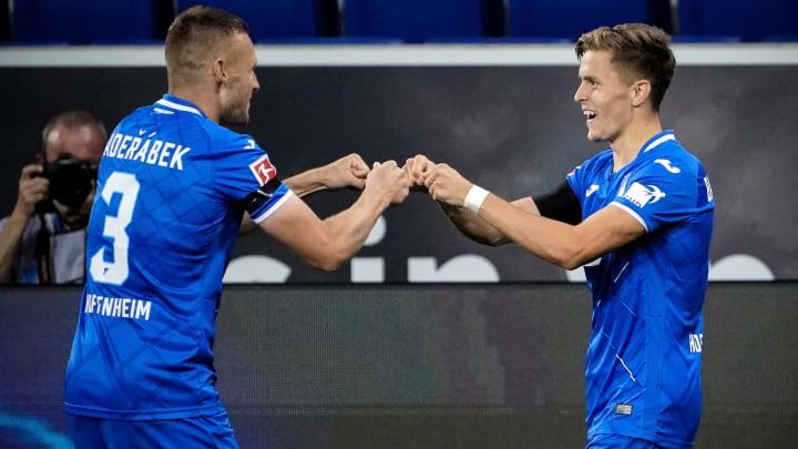 Hoffenheim players celebrate