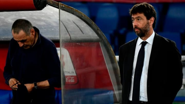 Maurizio Sarri and Juventus chairman Andrea Agnelli look forlorn following Juventus' Coppa Italia final defeat