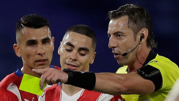 Almiron picked up a yellow card for dissent against Argentina on Thursday