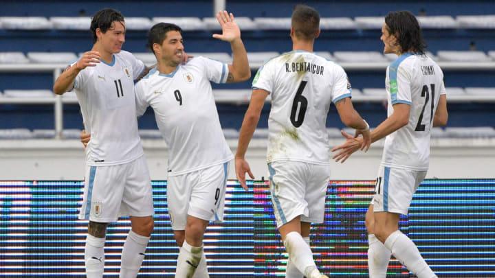 Varios jugadores de la selección uruguaya