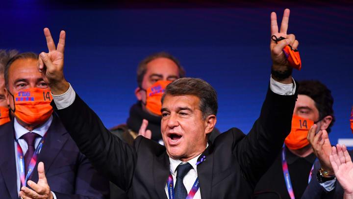 So sehen Sieger aus: Joan Laporta nach der gewonnenen Wahl zum Klub-Chef des FC Barcelona