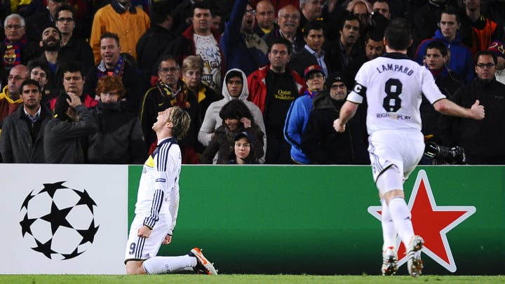 Torres celebrate his remarkable goal at Camp Nou