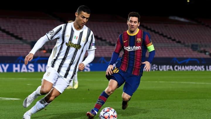 Crisitiano Ronaldo, Lionel Messi Barcelona Juventus Joan Laporta