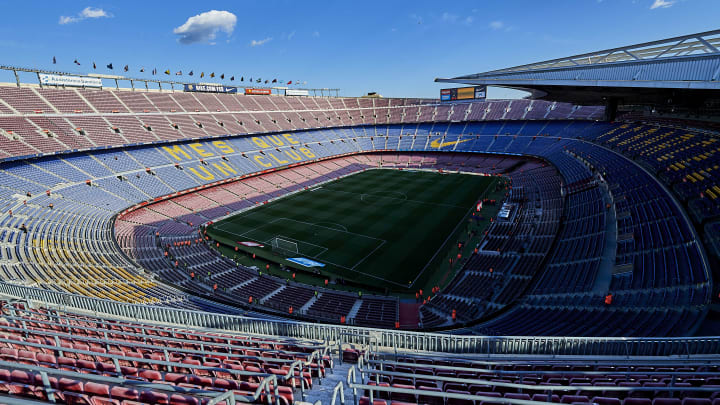 An empty Camp Nou before Barcelona's game against Real Sociedad in La Liga