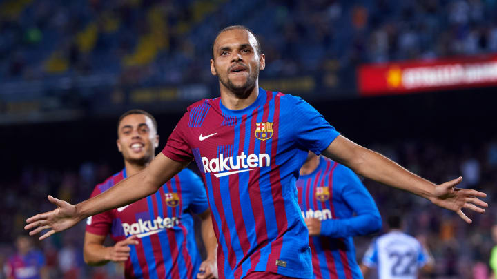 Braithwaite netted a brace in his last Camp Nou outing