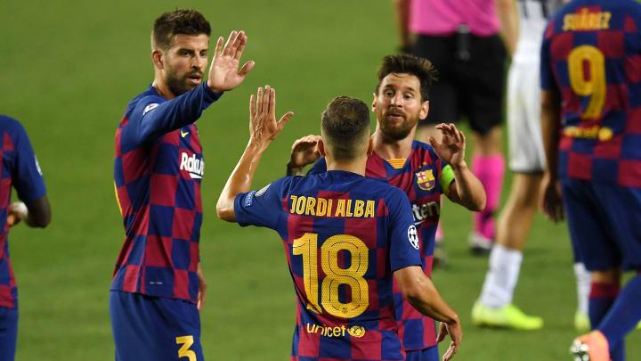 Lionel Messi, Jordi Alba and Gerard Pique