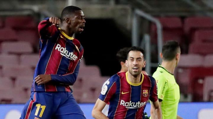 Ousmane Dembélé exulte après son but face à Séville.