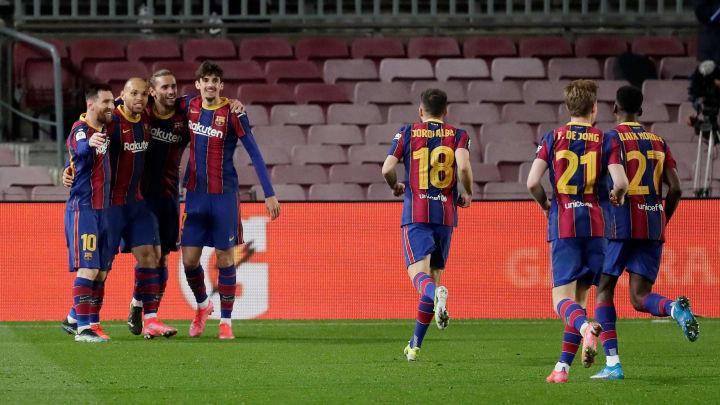 Barcelona celebrate Martin Braithwaite's extra time winner