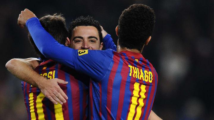Xavi Hernandez, Lionel Messi, Thiago Alcantara